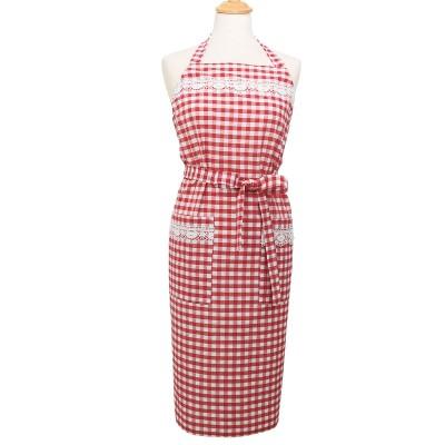 Küchen-Latzschürze Helena rot-weiß