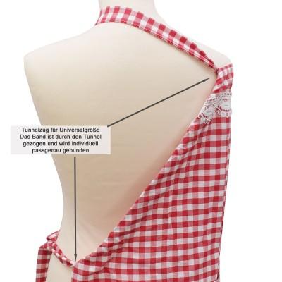 Küchen-Latzschürze Helena rot-weiß Detailansicht Tunnelzug