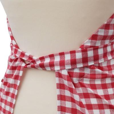 Küchen-Latzschürze Helena rot-weiß Rückseite