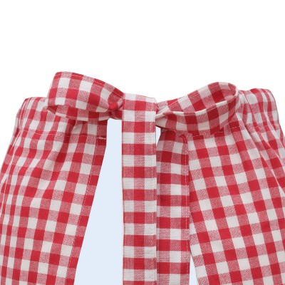 Halbschürze Helena rot-weiß mit Spitze Ansicht Schleife