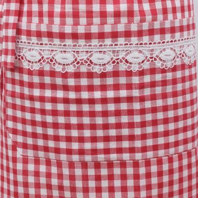 Halbschürze Helena rot-weiß mit Spitze Detailansicht Tasche