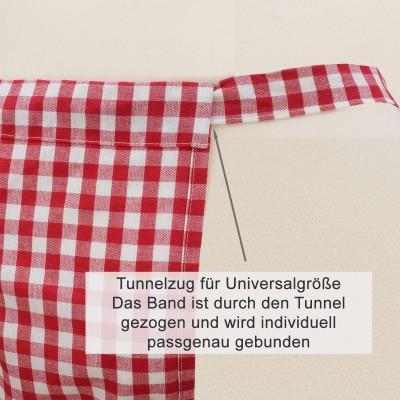 Halbschürze Helena rot-weiß mit Spitze - Erklärung Tunnelband