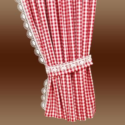 Set 2 Landhaus-Dekoschals Helena rot-weiß Detail Raffhalter