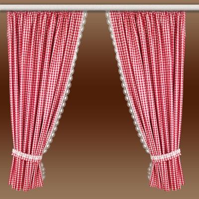 Set 2 Landhaus-Dekoschals Helena rot-weiß vor braunem Hintergrund