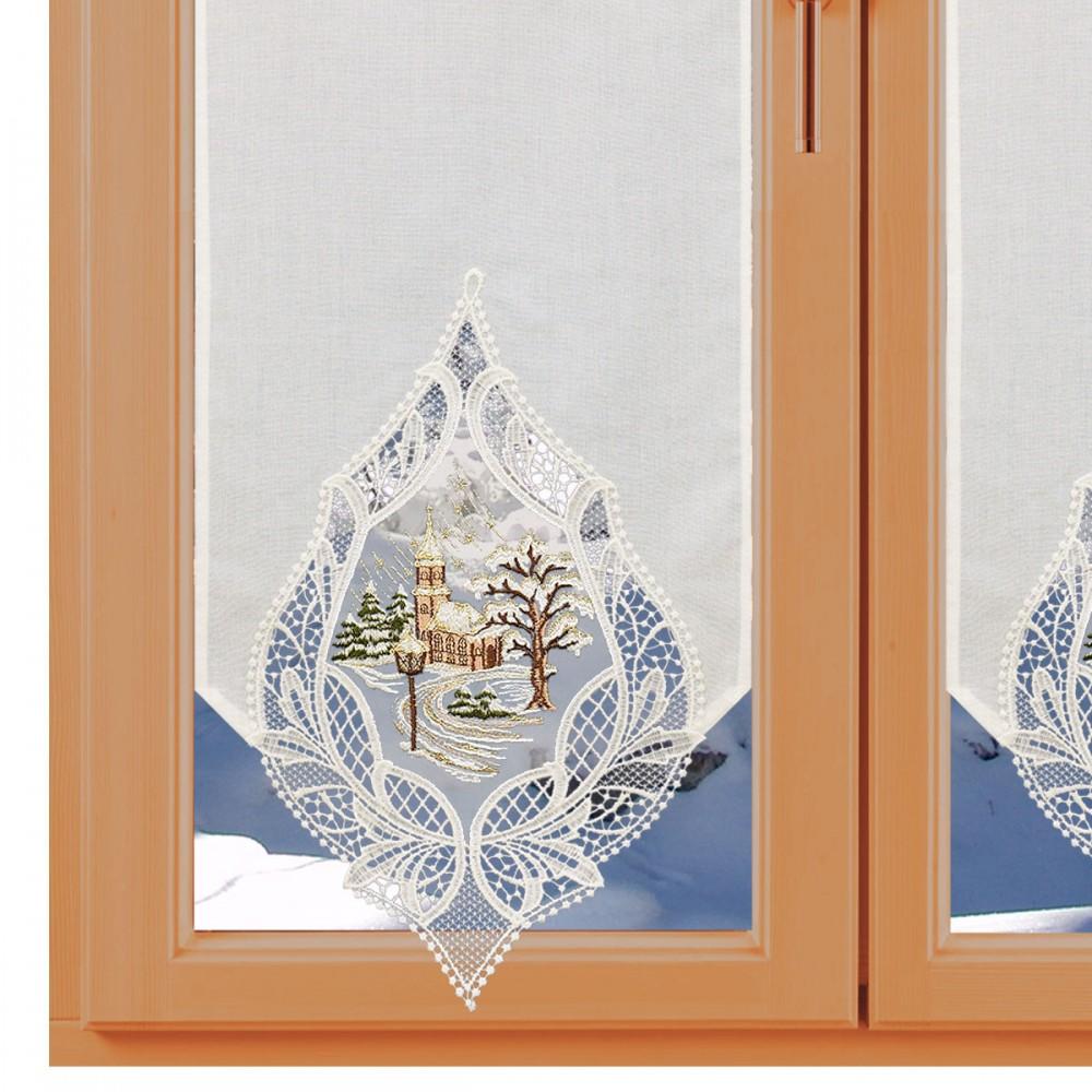 Landhausgardine Winter-Scheibenhänger Winterdorf Natur  am Fenster