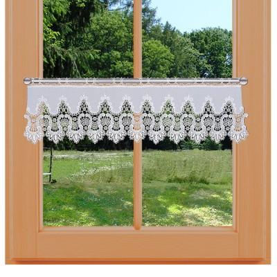 Feinste Spitzen-Feenhausgardine Safira kurze Variante am Fenster