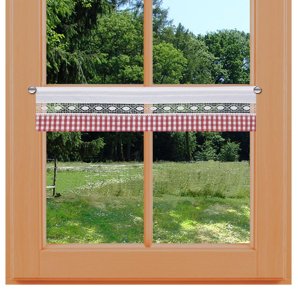 Feenhausgardine Helena rot-weiß kurz am Fenster