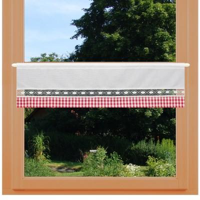 Feenhausgardine Helena rot-weiß lang an einem Fenster