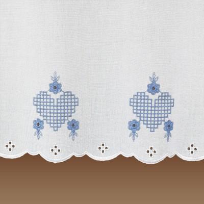 Landhausgardine Victoria Herzstickerei Detailansicht Stickerei