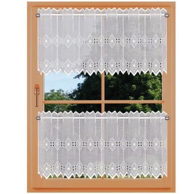 Feenhaus-Spitzen-Gardine Elly Dekobeispiel 30 cm und 45 cm an einem Fenster