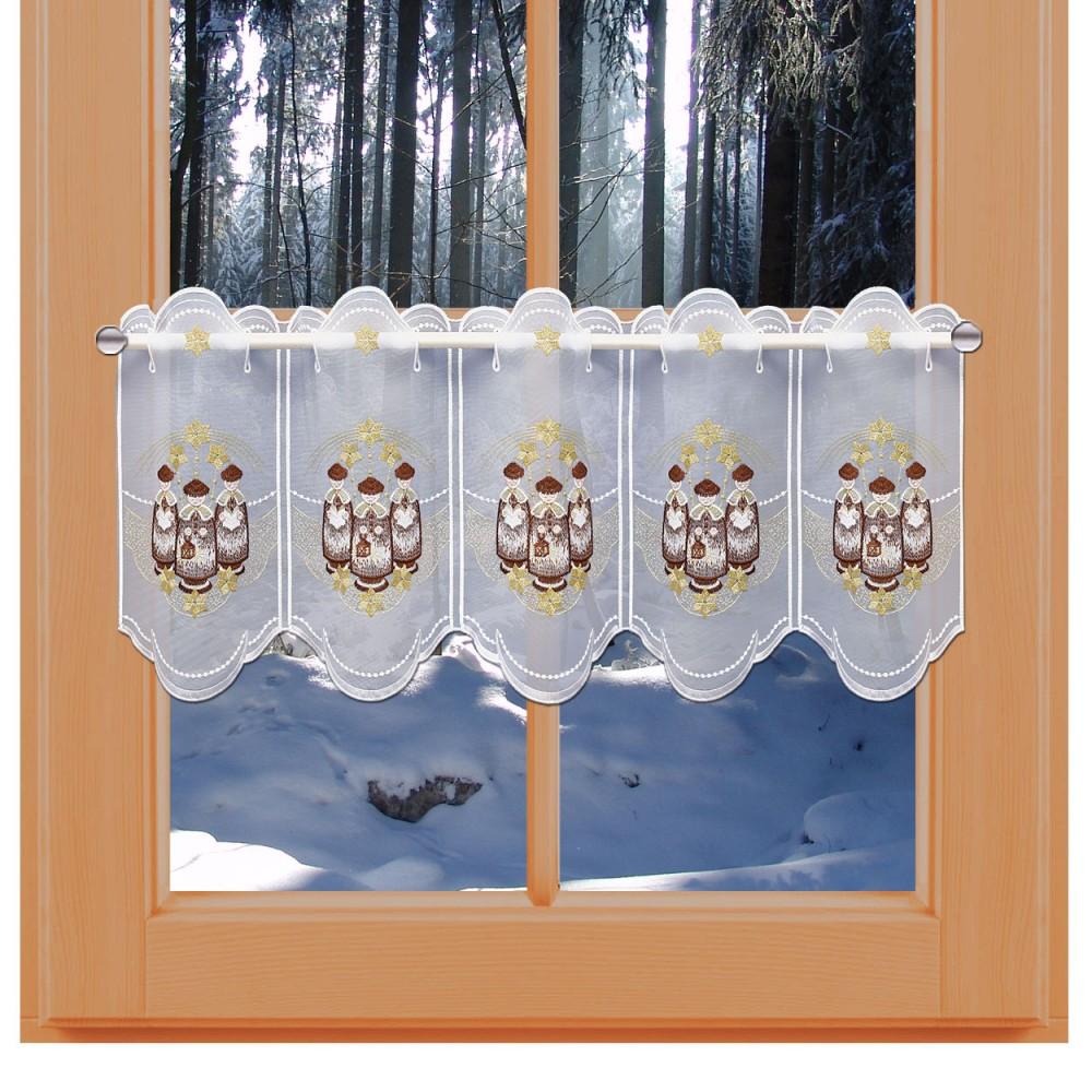 Weihnachts-Scheibengardine Kurrende 30 cm am Winter-Fenster