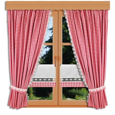 Set 2 Landhaus-Dekoschals Helena mit rotweißer Scheibengardine