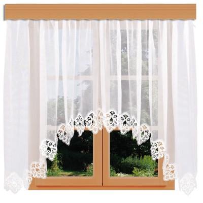 Blumenfenster-Store Jette mit Spitze am Fenster