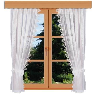 Seitenschal-Garnitur Mary Spitze mit Raffhaltern am Fenster
