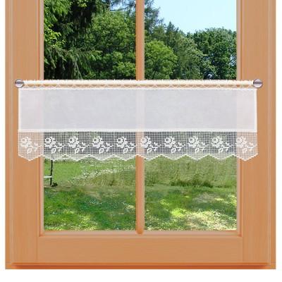 Feenhaus-Landhaus-Spitzengardine Lina 26 cm am Fenster