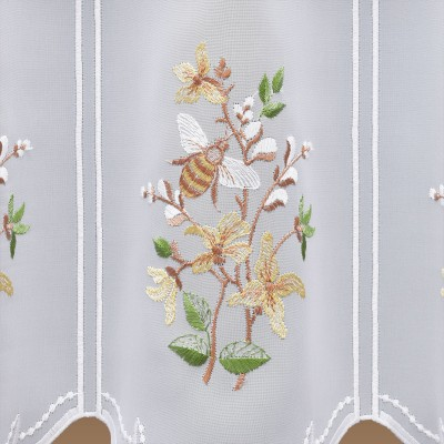 Bestickte Scheibengardine Weidenkätzchen Detailbild