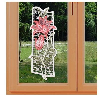Fensterbild Lilie Spitzenbild Echte Plauener Spitze rot am Fenster