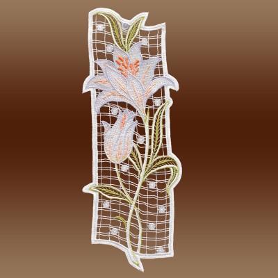 Fensterbild Lilie Spitzenbild Echte Plauener Spitze lila