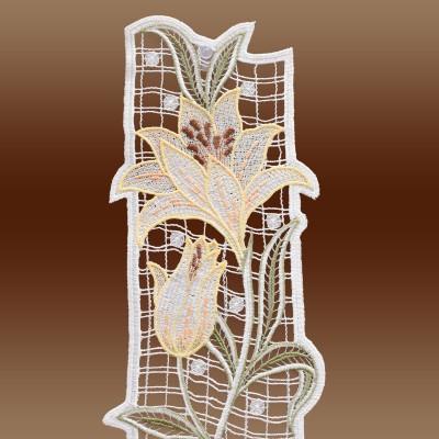 Fensterbild Lilie Spitzenbild Echte Plauener Spitze gelb Detailbild