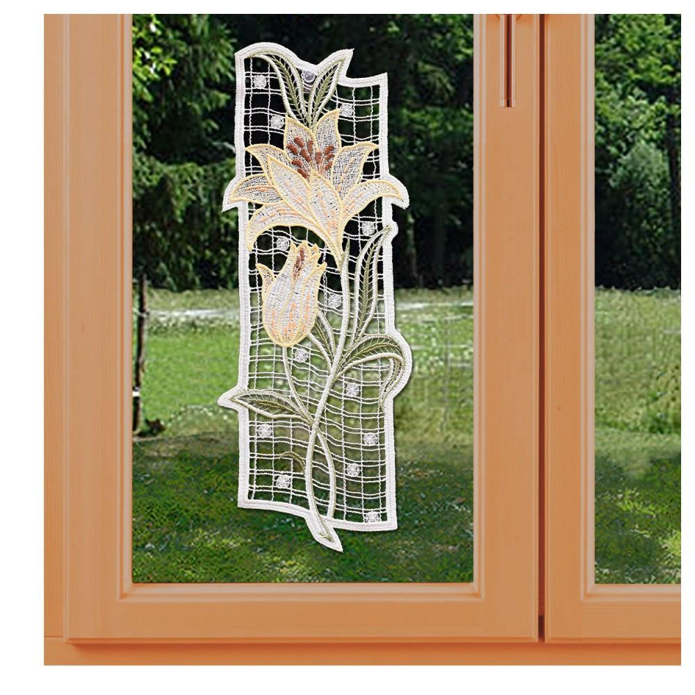 Fensterbild Lilie Spitzenbild Echte Plauener Spitze gelb am Fenster