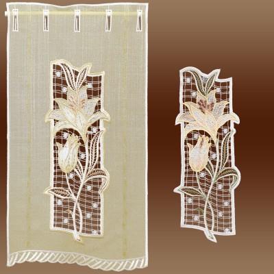 Fensterbild Lilie Spitzenbild Echte Plauener Spitze gelb mit Gardine