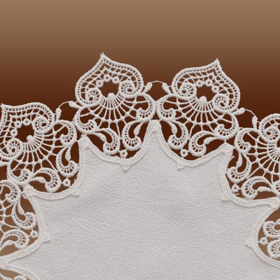 Deckchen Sally hochwertige Luftspitzen-Stickerei natur Detailbild Spitze