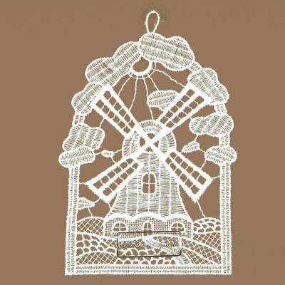 Windmühle Klassisches Fensterbild aus Echter Plauener