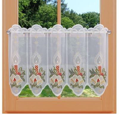 Scheibengardine Advent Kerzen mit Glocken am Fenster
