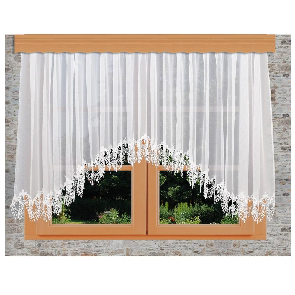 Edler Blumenfenster-Store Nastja weiß mit gebogter Fächerspitze Fenster