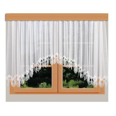 Edler Blumenfenster-Store Nastja weiß mit gebogter Fächerspitze Beispielbild