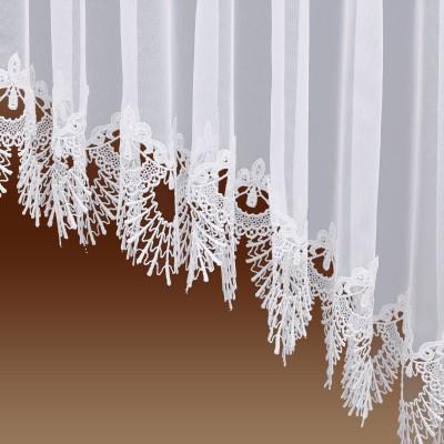 Edler Blumenfenster-Store Nastja weiß mit gebogter Fächerspitze Detailansicht Falten