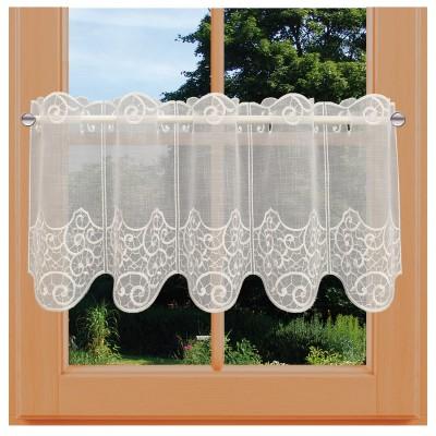 Scheibengardine Daria natur aus Plauner Spitze 30 cm Höhe am Fenster