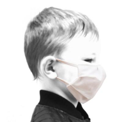 Mundschutz Gesichtsmaske für Kinder weiß zweilagig von der Seite