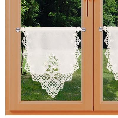 Spitzen-Scheibengardinenhänger Margerite mit Schleife klein am Fenster
