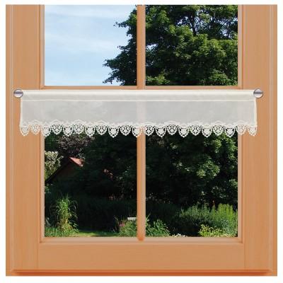 Feenhaus-Spitzengardine Merida natur Plauener Spitze klein am Fenster