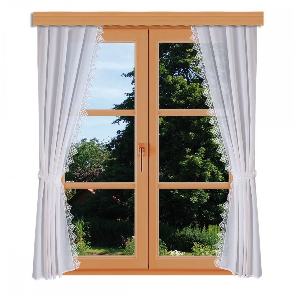Seitenschalgarnitur Lydia Set 4-teilig mit Raffbändern am Fenster