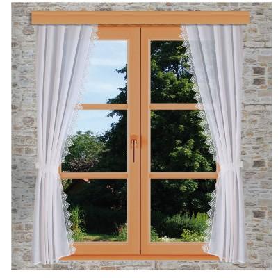 Seitenschalgarnitur Lydia Set 4-teilig mit Raffbändern am Fenster dekoriert