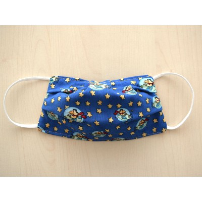 Mund-und Nasen-Maske Behelfs-Mundschutz 2lagig für Kinder Blau Gelb wendbar Baumwolle waschbar ausgezogen