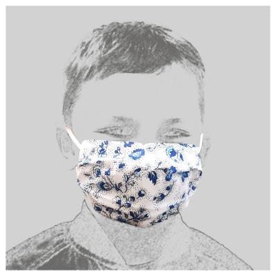 Mund-und Nasen-Maske Behelfs-Mundschutz 2lagig für Kinder Blau geblümt getragen
