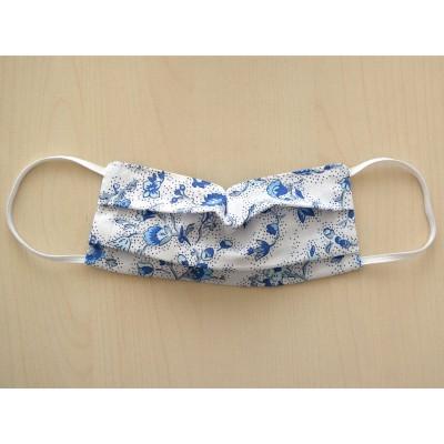 Mund-und Nasen-Maske Behelfs-Mundschutz 2lagig für Kinder Weiß Blau geblümt
