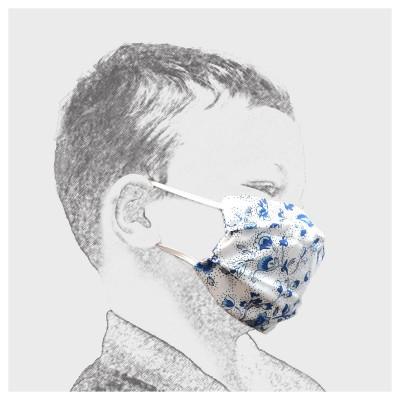 Mund-und Nasen-Maske Behelfs-Mundschutz 2lagig für Kinder Blau geblümt von der Seite