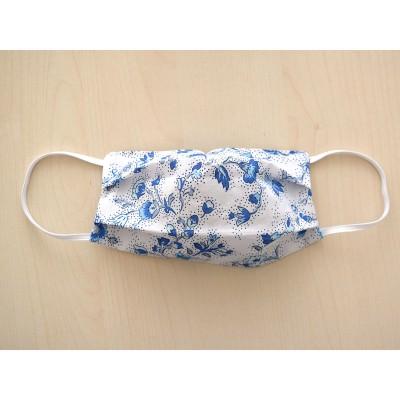 Mund-und Nasen-Maske Behelfs-Mundschutz 2lagig für Kinder Blau geblümt ausgezogen