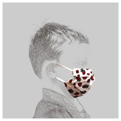 Mund-und Nasen-Maske Behelfs-Mundschutz 2lagig für Kinder mit Marienkäfern von der Seite