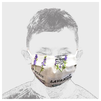 Mund-und Nasen-Maske Behelfs-Mundschutz 2lagig für Kinder mit Lavendel und Schmetterling