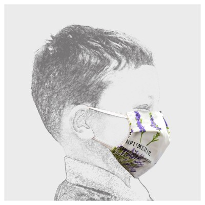 Mund-und Nasen-Maske Behelfs-Mundschutz 2lagig für Kinder mit Lavendel von der Seite