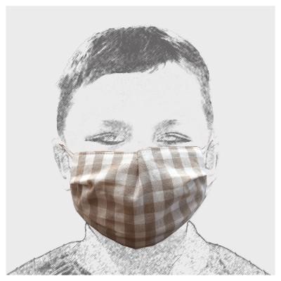 Mund-und Nasen-Maske Behelfs-Mundschutz 2lagig für Kinder Beige kariert Besipielbild