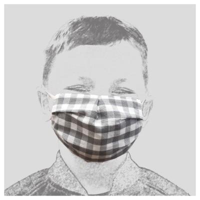 Mund-und Nasen-Maske Behelfs-Mundschutz 2lagig für Kinder Grau kariert getragen