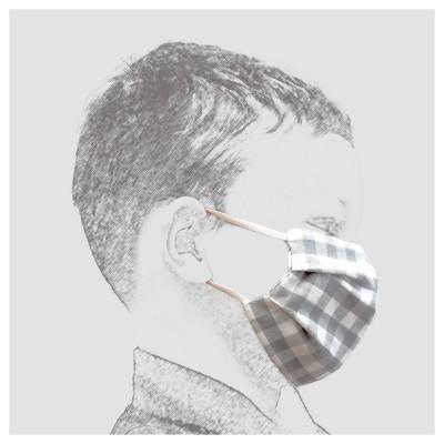 Mund-und Nasen-Maske Behelfs-Mundschutz 2lagig für Kinder Grau kariert von der Seite
