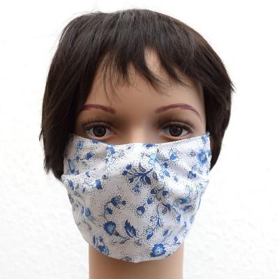 Mund- und Nasen-Maske Behelfs-Mundschutz Blau geblümt Beispiel