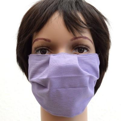 Mund- und Nasen-Maske Behelfs-Mundschutz Grau lila 2-lagig Baumwolle waschbar 65°C Beispiel